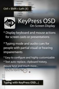 A short list of the main features list in KeyPress OSD
